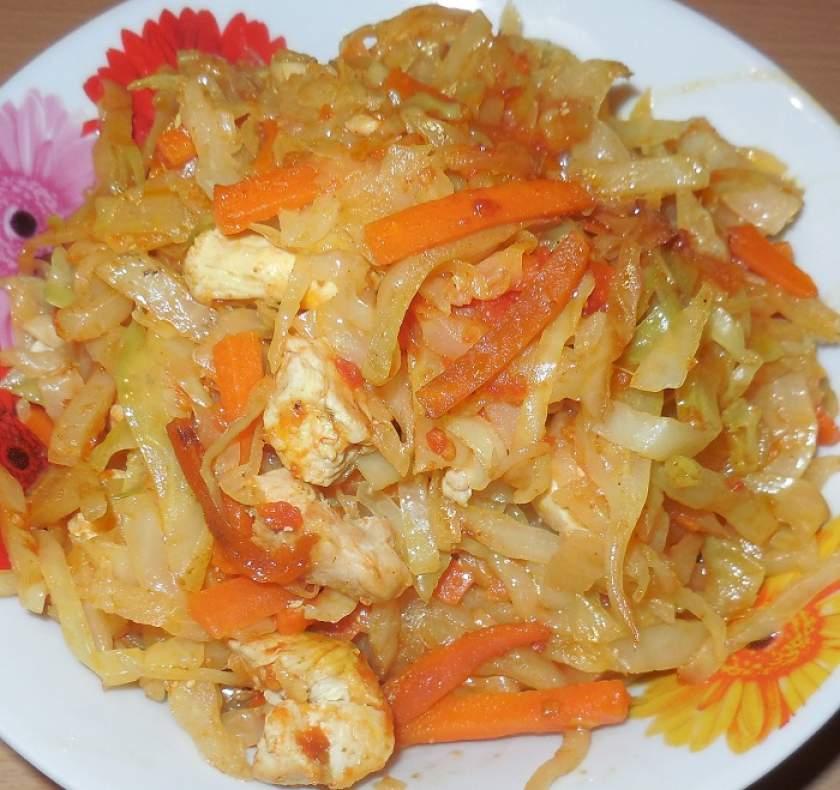 Как потушить капусту с курицей в сковороде пошаговый рецепт с